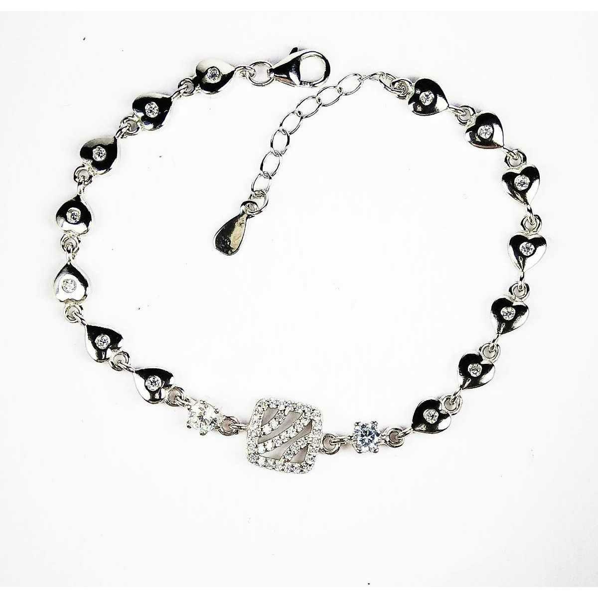 Fancy 925 Silver Ladies Bracelet With Hearts