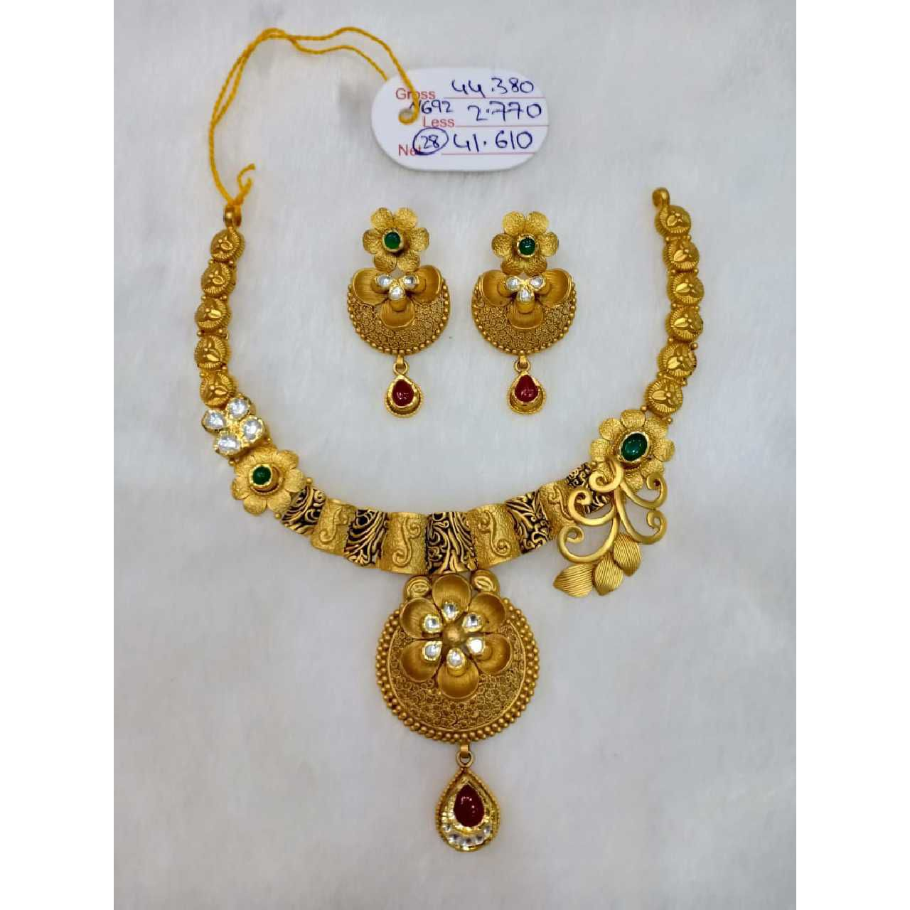 916 gold antique jewellery set sj - an014