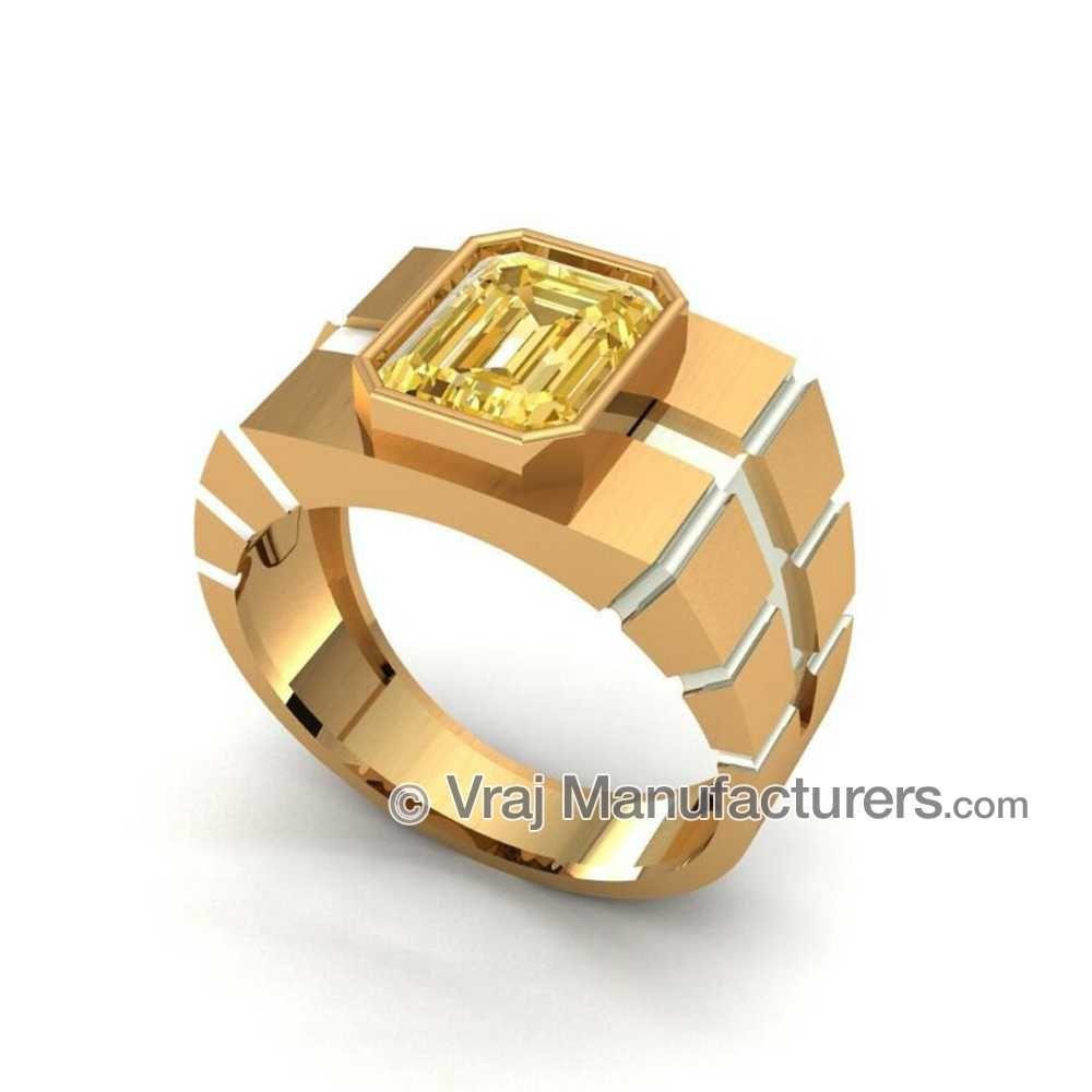 18KT Gold Radiant Yellow Sapphire Rings For Men