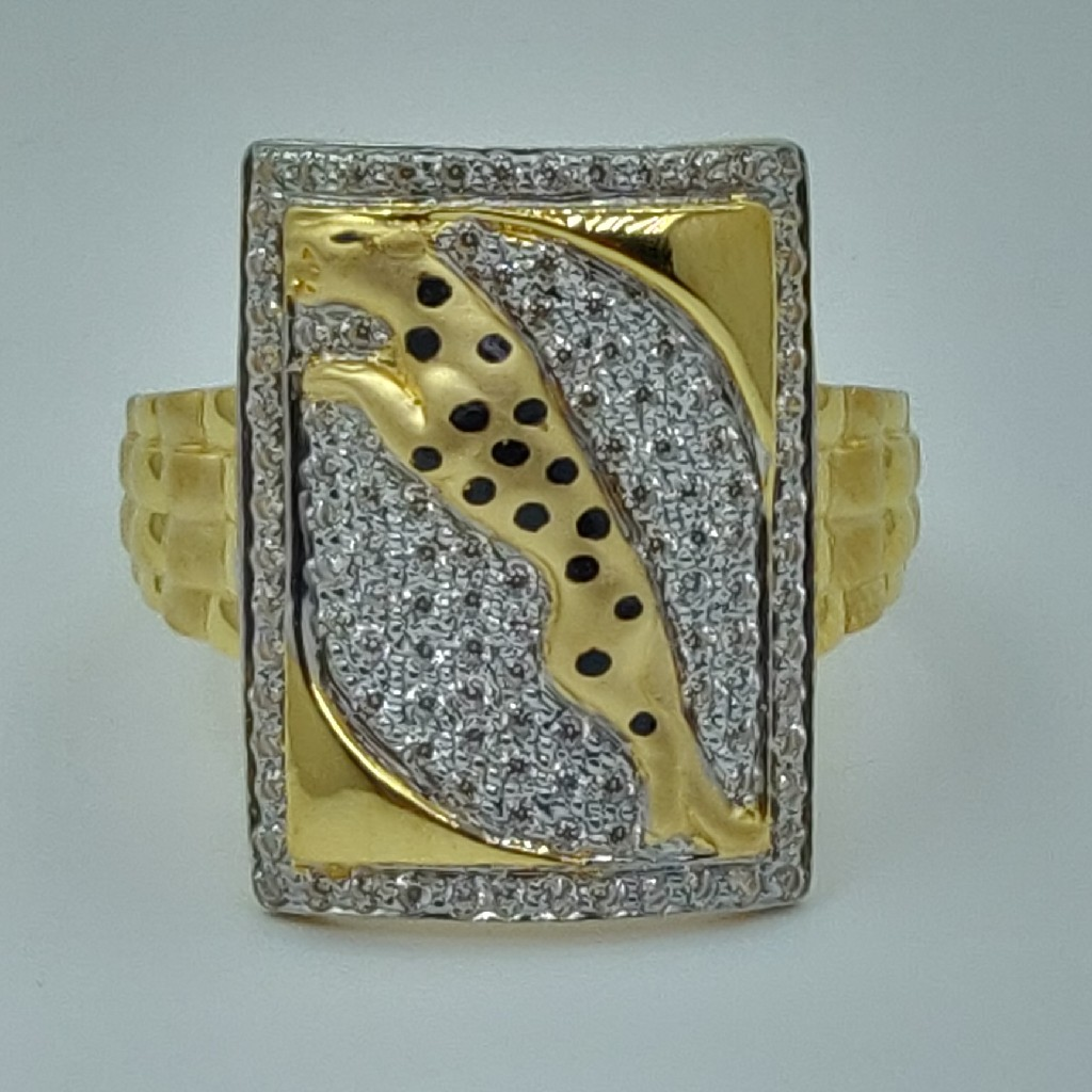 22k/916 fancy gold cz gents ring