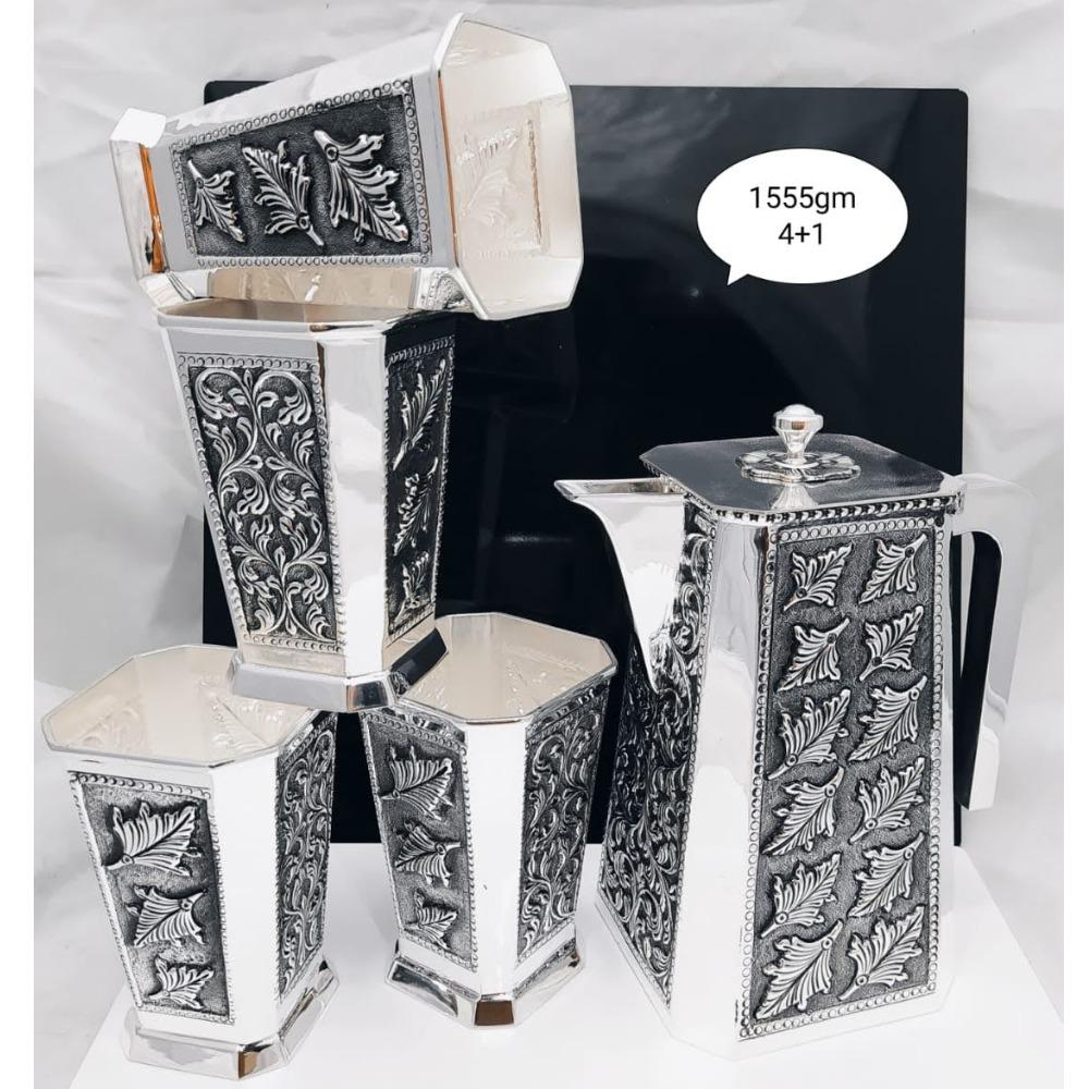 92.5 pure silver Leaf designer shape jug glasses set pO-247-04