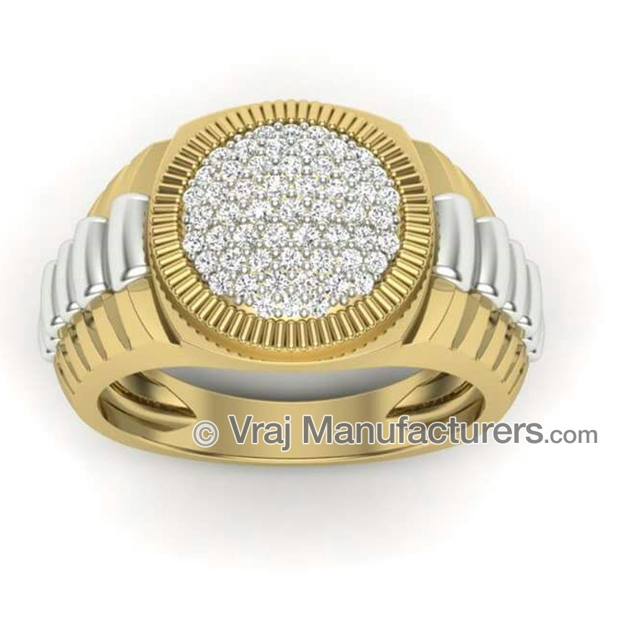 18K Casting Yellow Gold Round Diamond Ring For Men