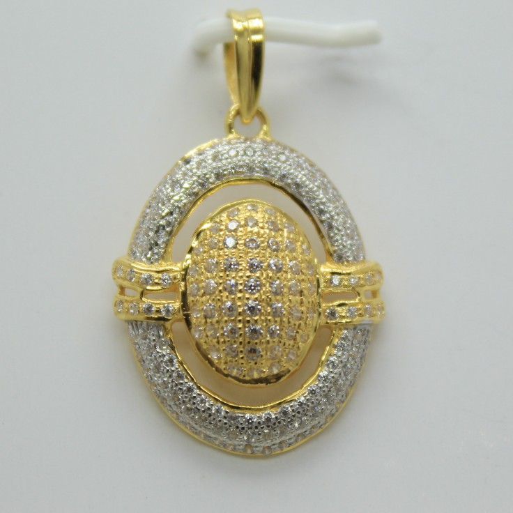22k cz gold fancy chain pendant