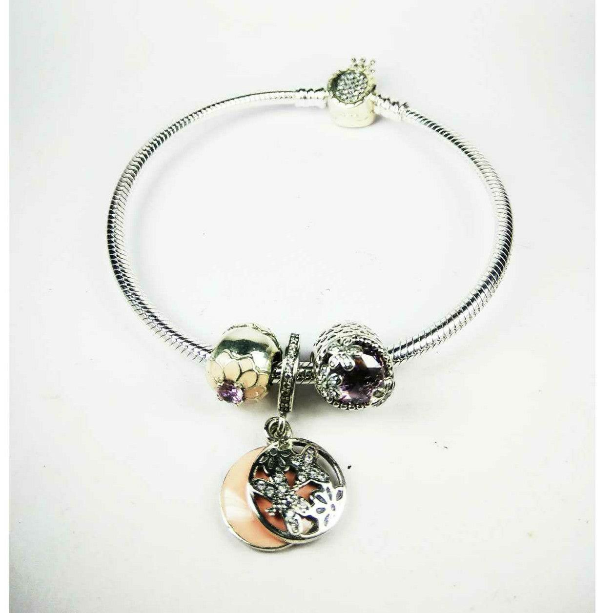 Expensive Fancy 925 Silver Ladies Pandora Kada Bracelet With Flowers