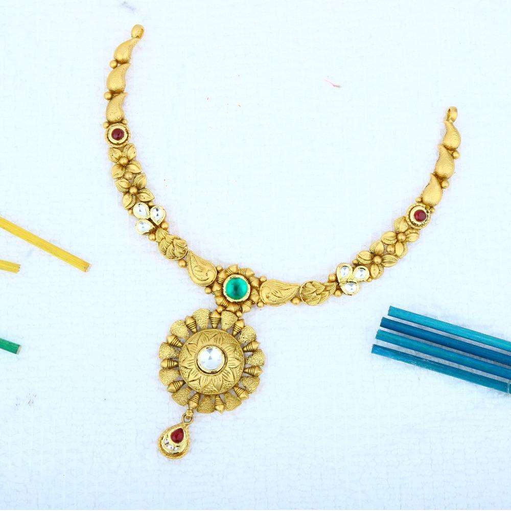 916 Gold Antique Necklace Set STG - 0104