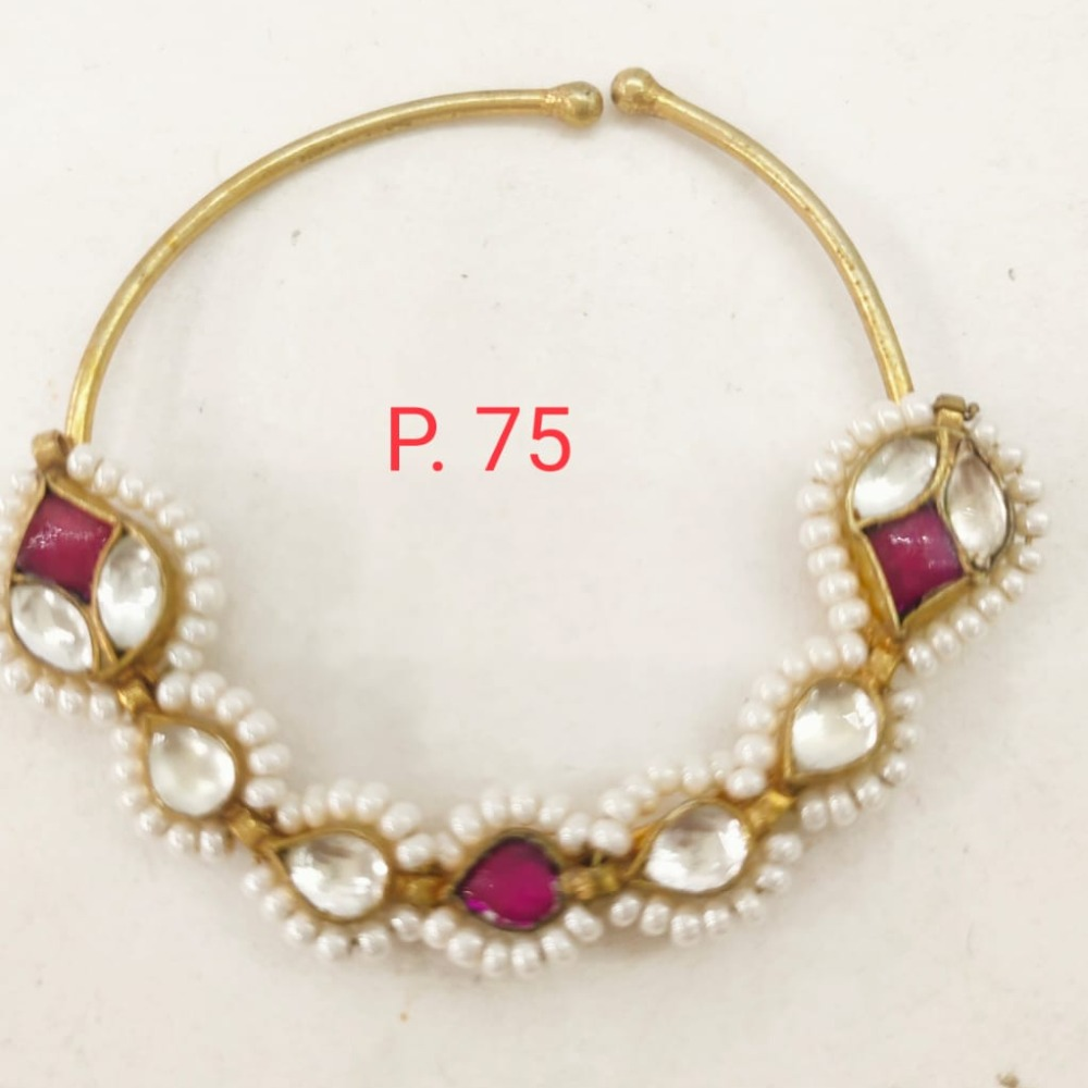 Gold Plated Ruby stone kundan & Pearl Nose ring 1732