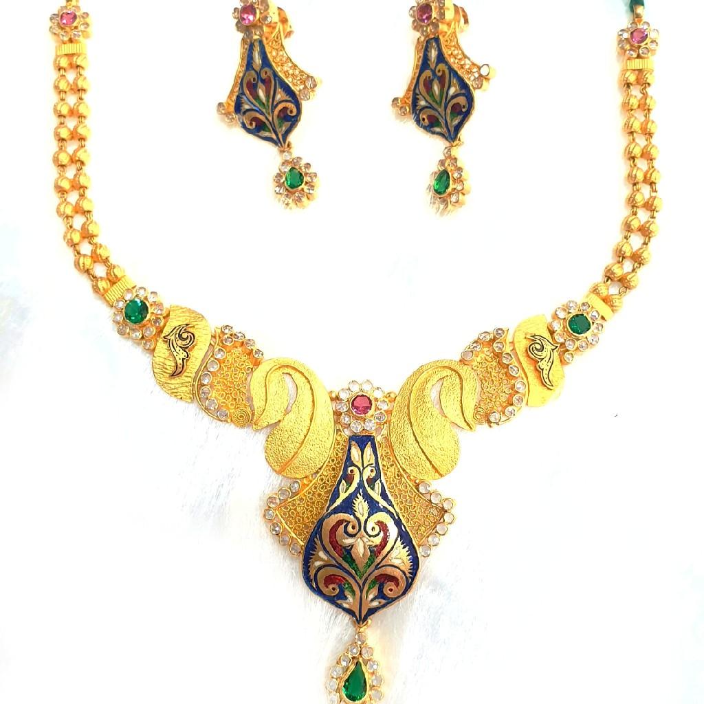 916 gold antique necklace set mga - gn015