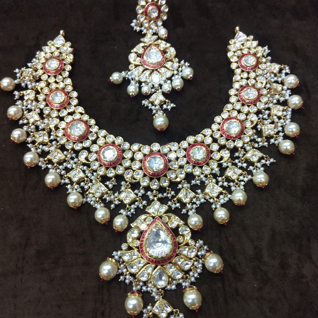 916 gold kundan red meenakari necklace set
