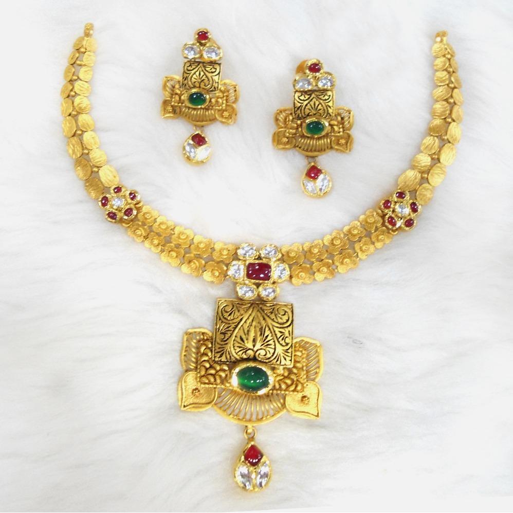 916 Gold Antique Traditional Necklace Set RHJ-5582
