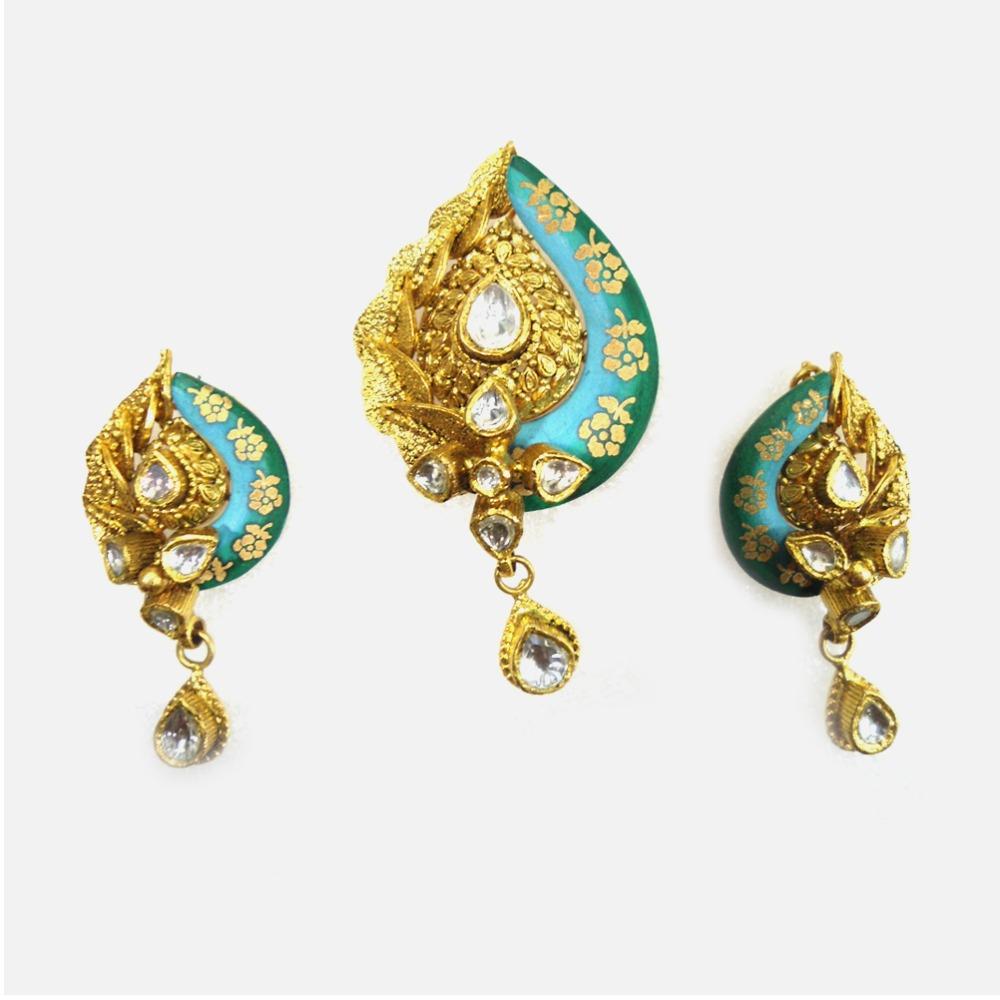 22KT Gold Antique Meenakari Pendant Set RHJ-3176