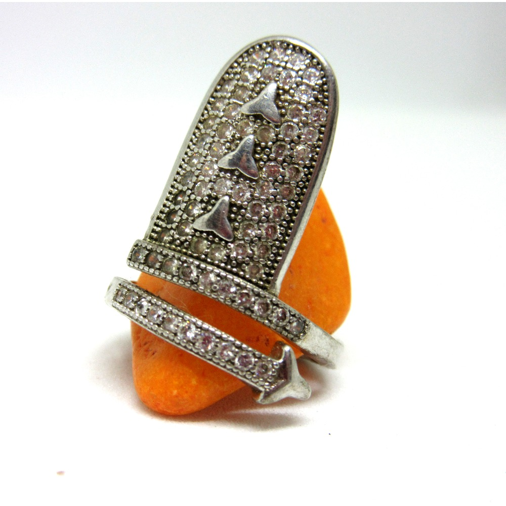 Silver 925 nail adjustable ring sr925-148
