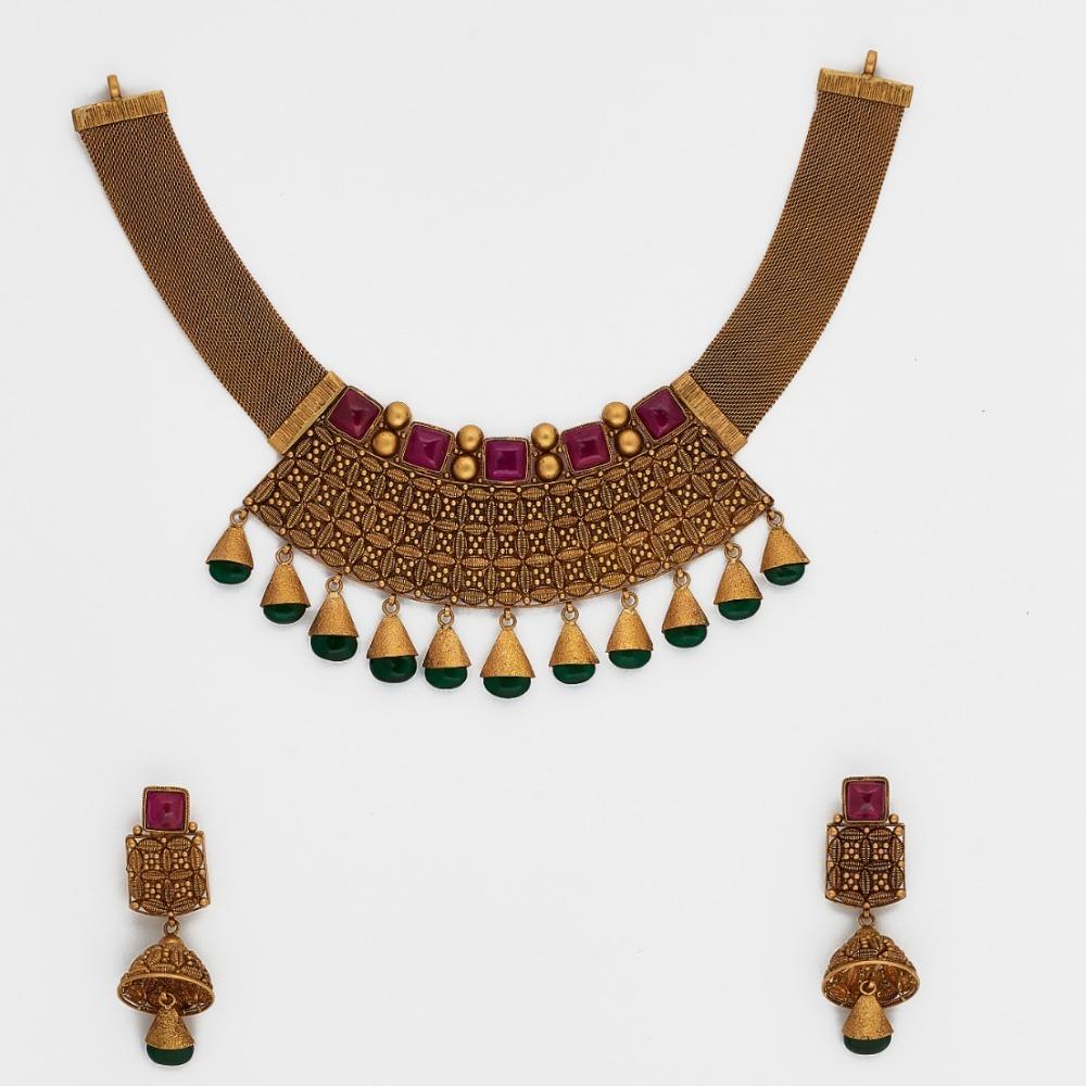 916 Antique Gold Necklace Set SJ-2584