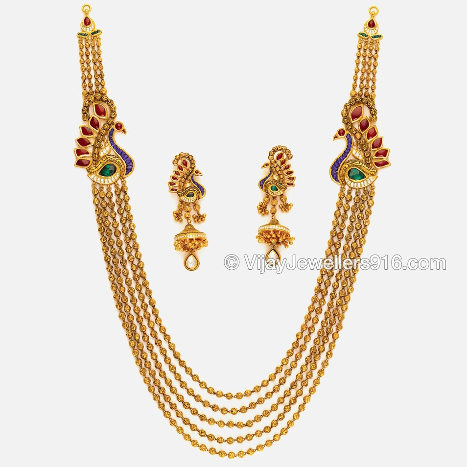 22K Gold Traditional Layered Chain Necklace Set