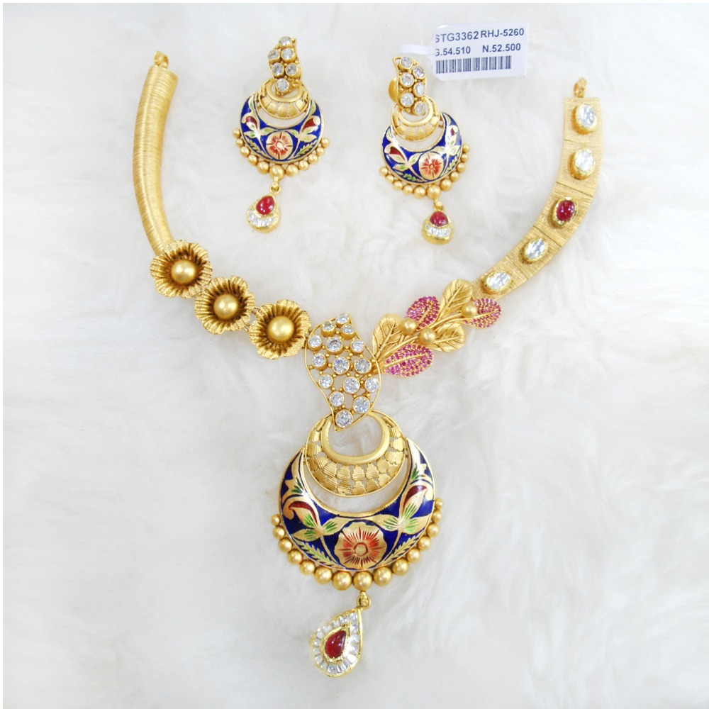 Antique Gold N Jadtar Set: Buy Quality Gold Antique Jadtar Necklace Set RHJ 5260 In