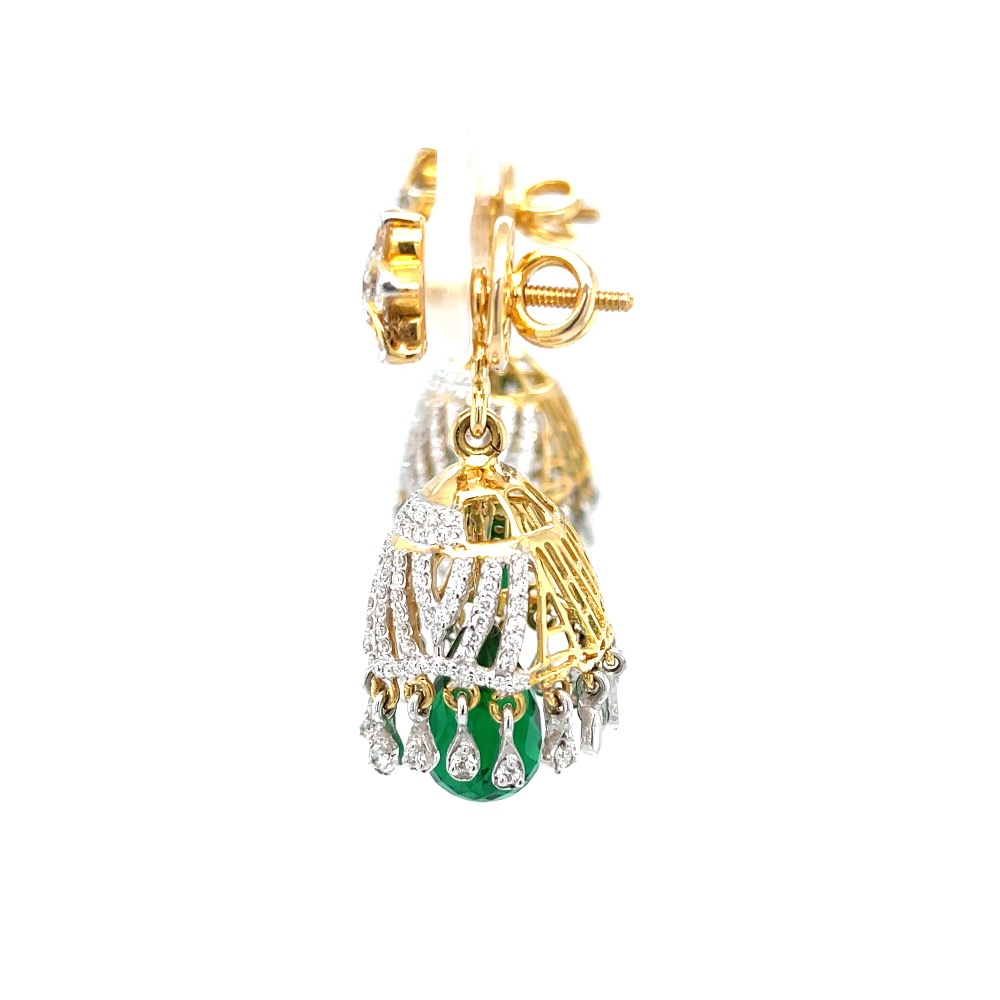 Jumkas for Special Occasions with Green Stone 6TOP184