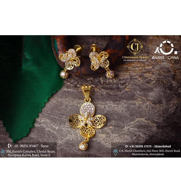 18K Gold Flower Design Pendant Set
