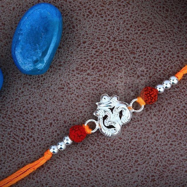 925 Silver Om Design Rakhdi