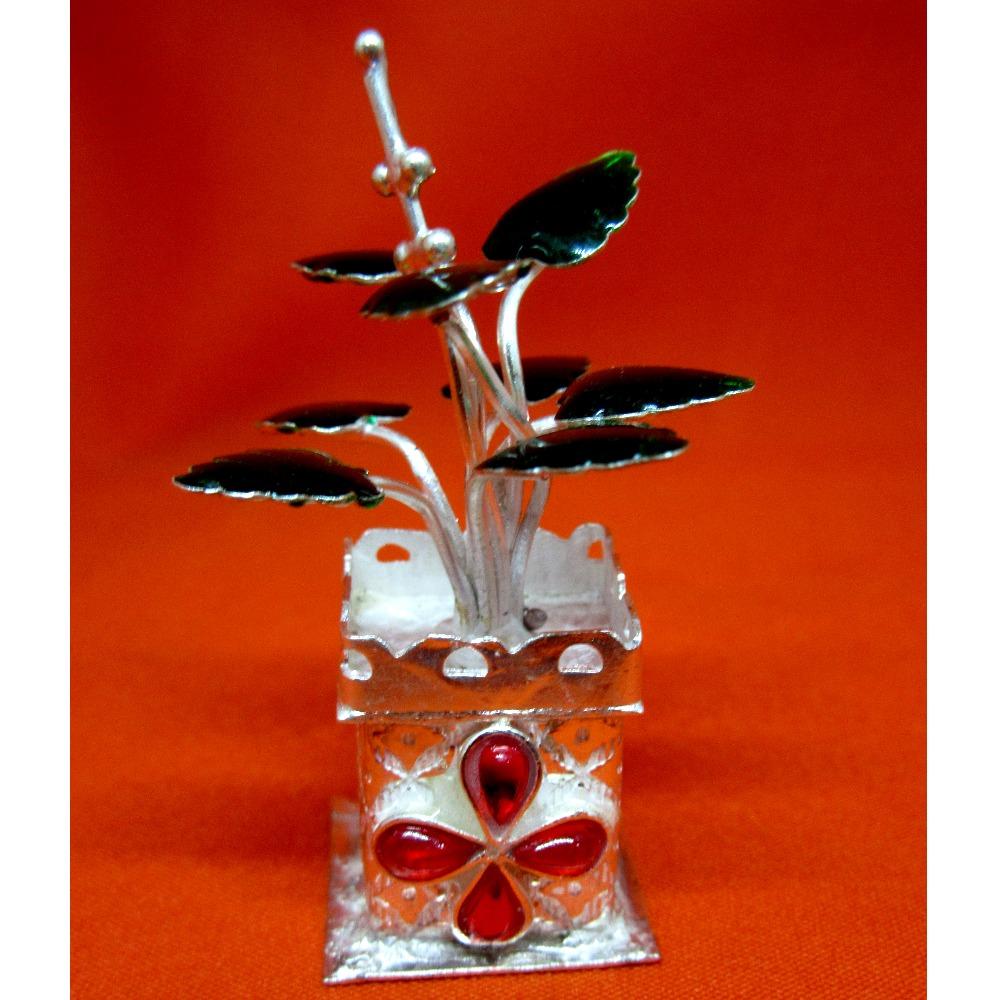 Silver tulshi kyara for pooja