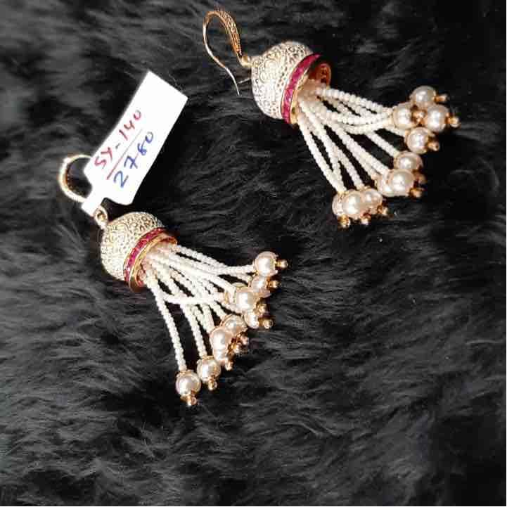 Meenakari earrings with pearl hanging