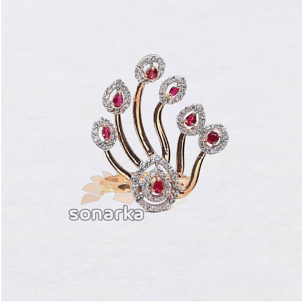 18k Peacock Design Pink CZ Rose Gold Ring SK - R003