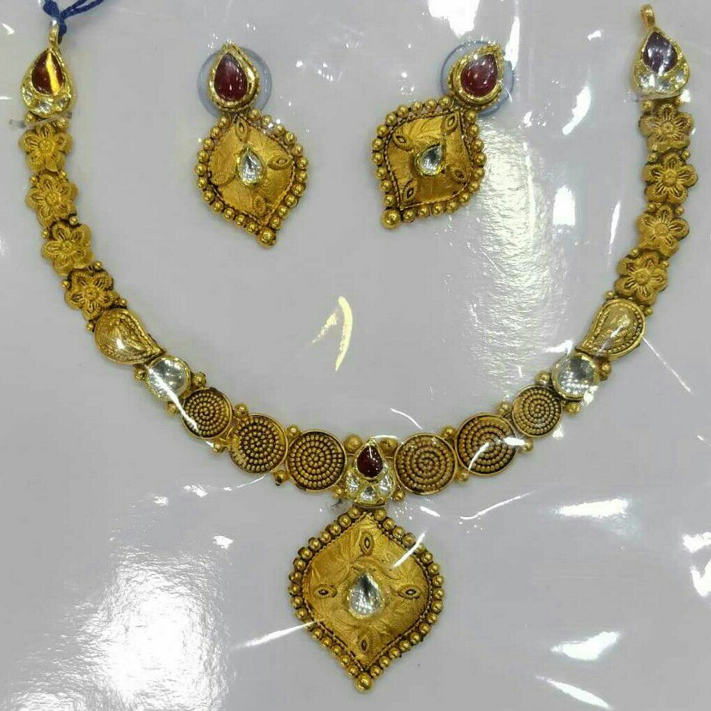 22KT/916 Antique Gold Vertical Necklace Set