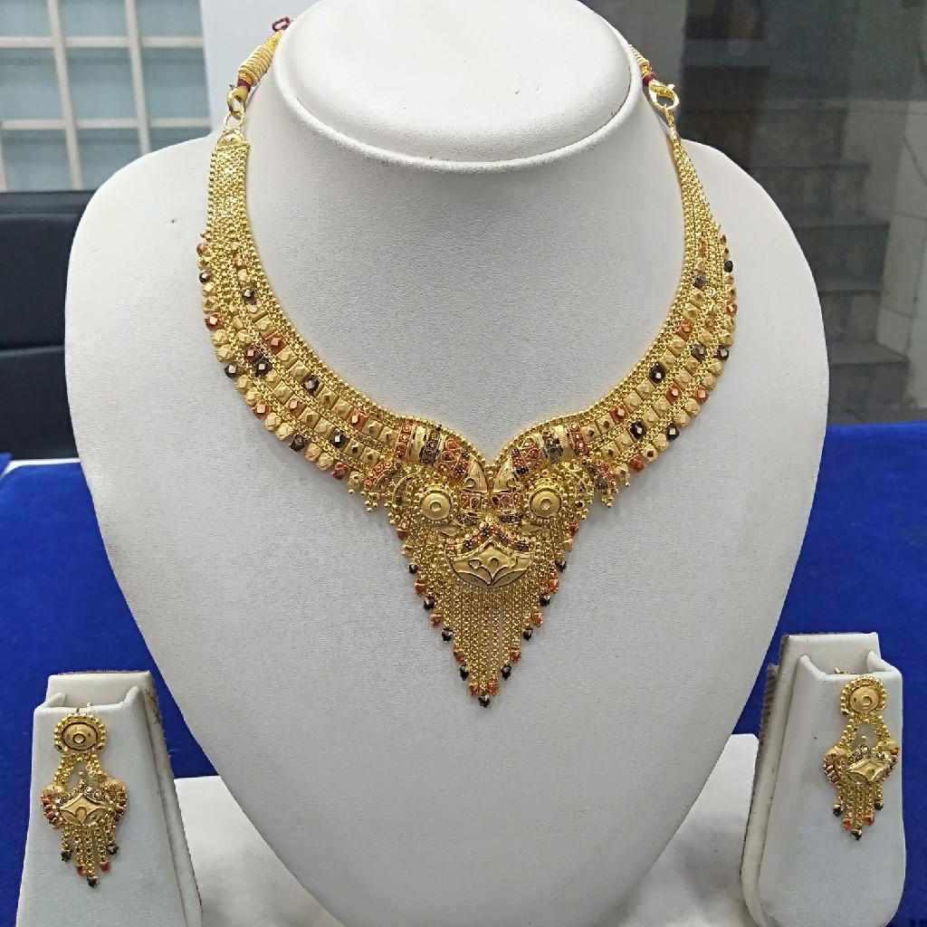 916 gold fancy necklace set ns-011