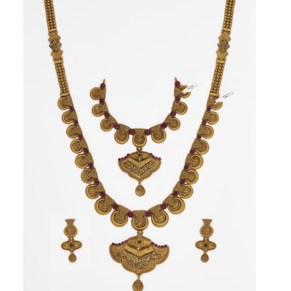 916 Gold Long Bridal Necklace Set SJ-4569