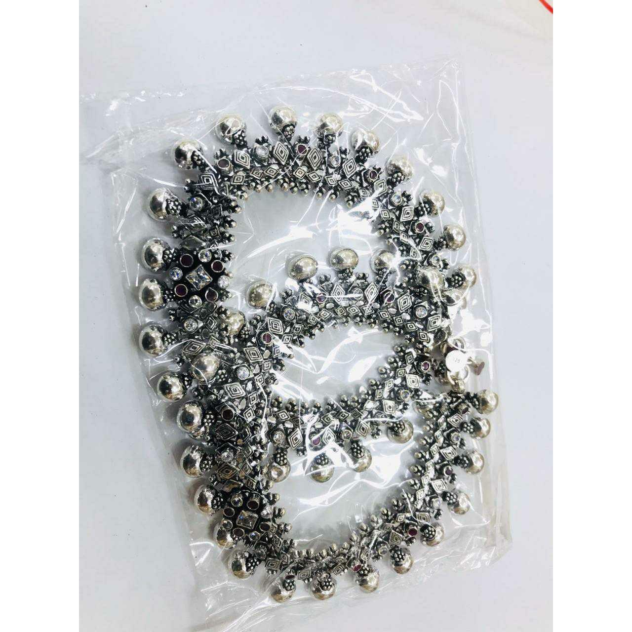 92.5 Sterling Silver Round Khili Janjari Payal(Anklet) Ms-3805