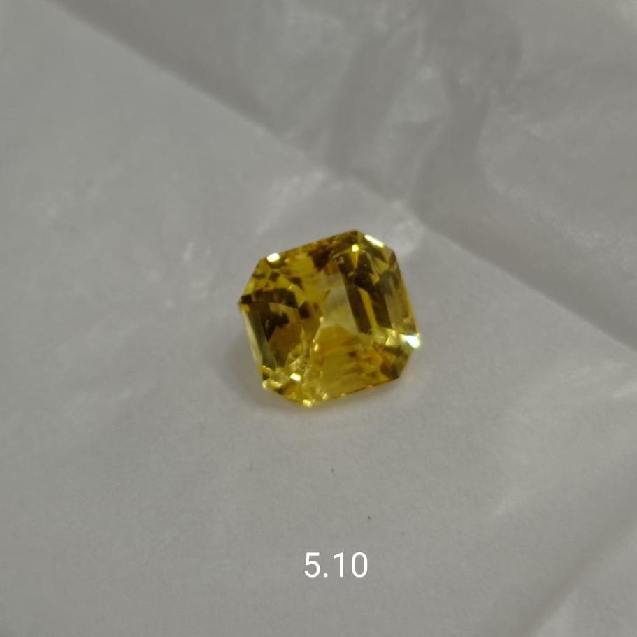 5.10ct Square Yellow Sapphire-Pukhraj SG-Y02