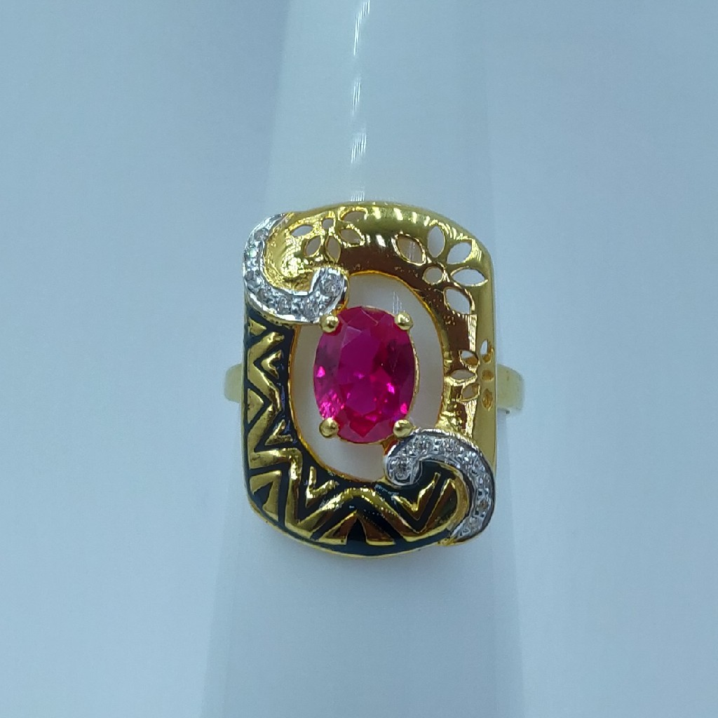 22k/916 cz rodium plated and fancy ladies ring