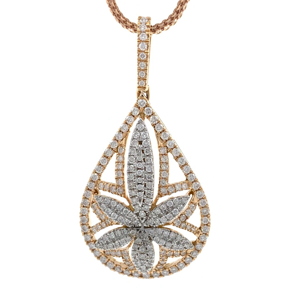 Six Petal Flower & Drop diamond pendant in 18k rose gold 9SHP15