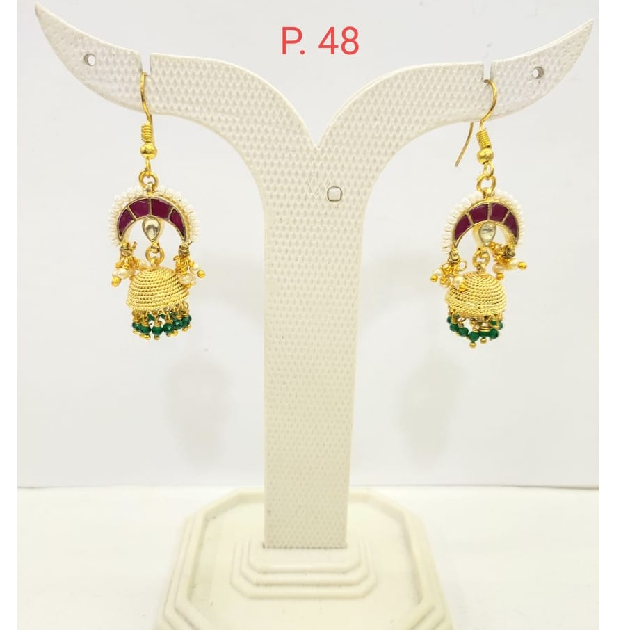 gold plated Ruby stone Earring Jhumka with Green Pearl 1684