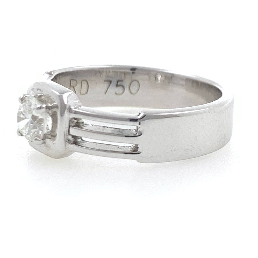 18kt / 750 white gold solitaire engagement diamond gents ring 9gr6