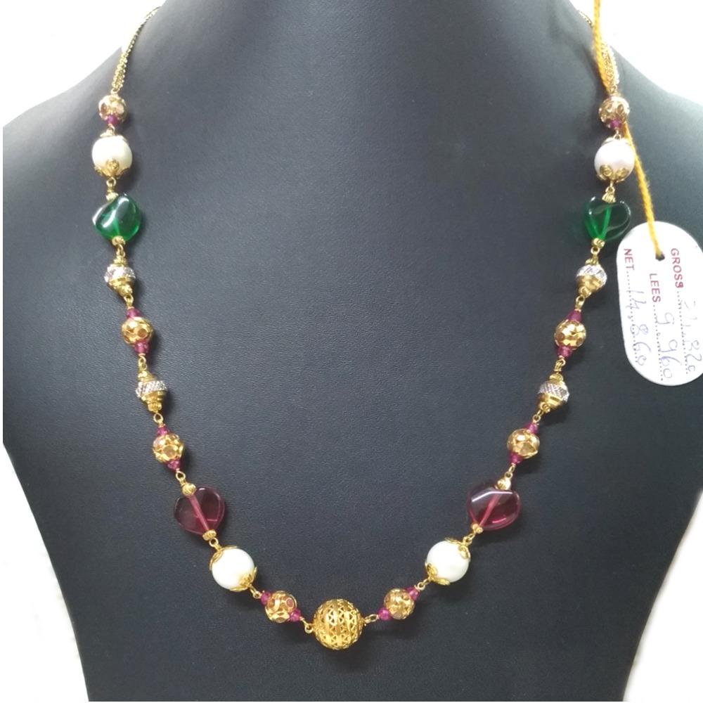 22KT Gold Fancy Colored Stone Mala Chain