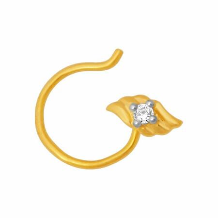 18k gold real diamond nosepin mga - rn0011