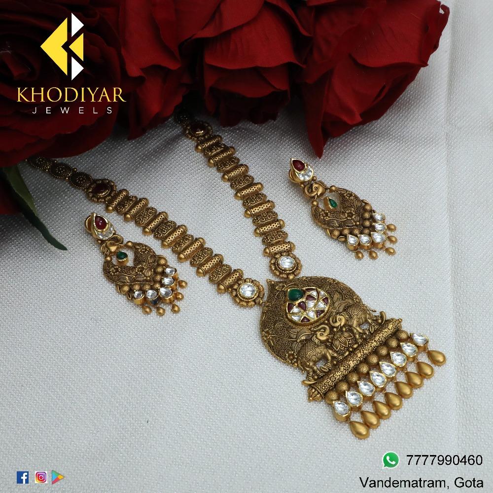 916 Gold Antique Long Necklace Set For Wedding KJ-N001