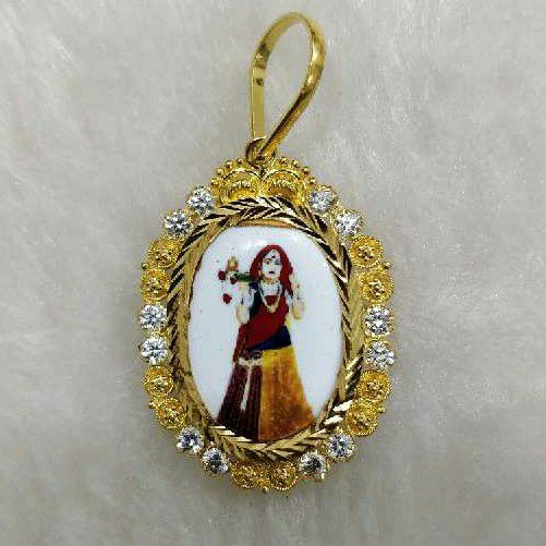 916 Gold Antique Bhatiyani Maa Photo Pendant