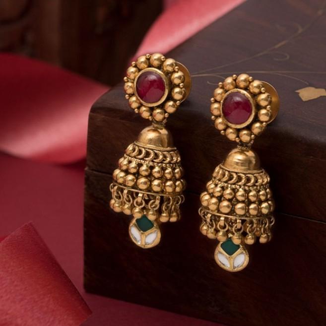 22k jadtar earring antique jewellery for women