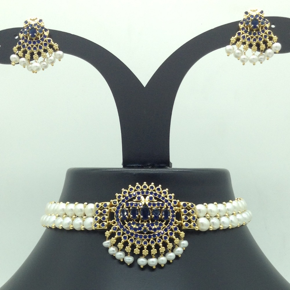 Blue CZ and Pearls Choker Set With ButtonPearls Mala JPS0627
