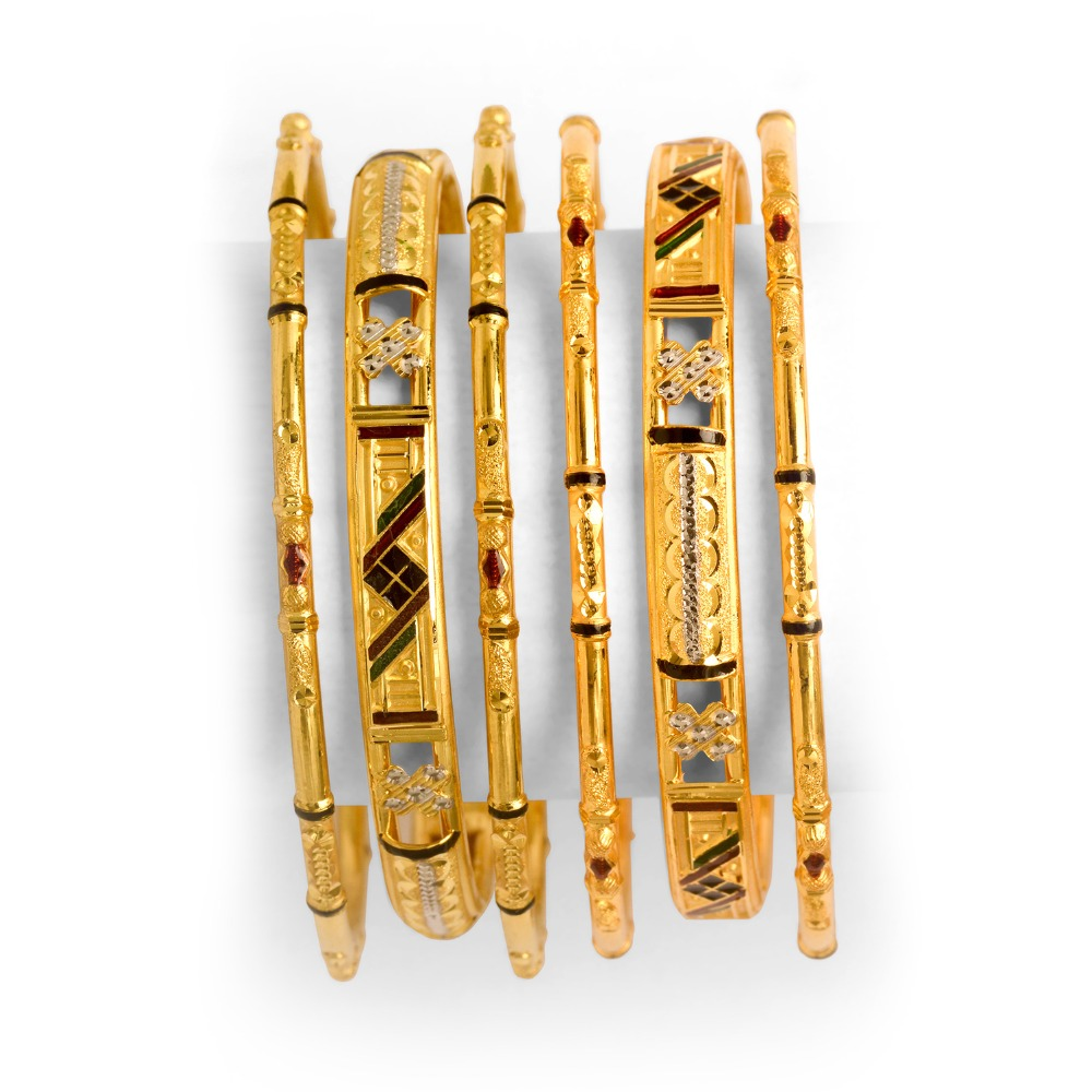 916 Gold Designer 6 Piece Bangle Set BO-011