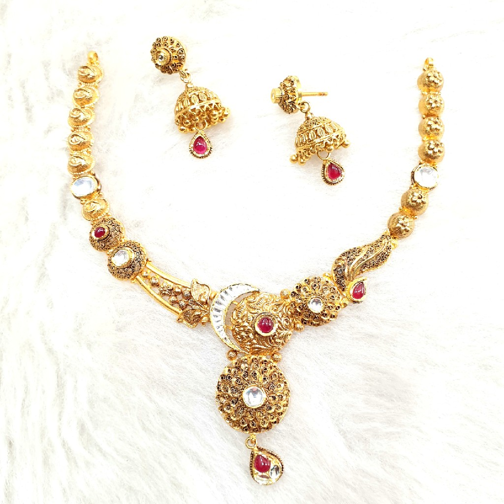 916 Gold Antique Necklace Set MGA - GN008