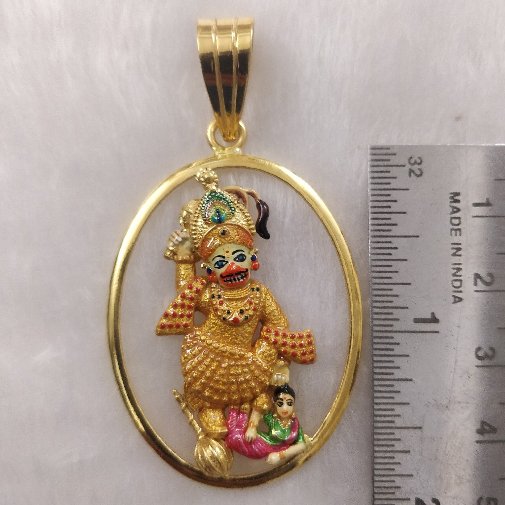 916 Gold Fancy Gent's Kastbhanjan Dev Pendant