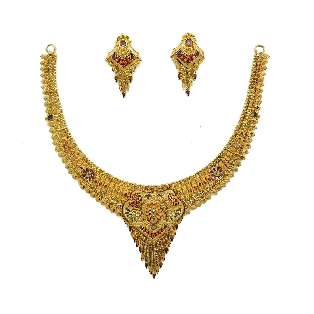 22K Gold Culcutti Necklace with Earrings NSG0045
