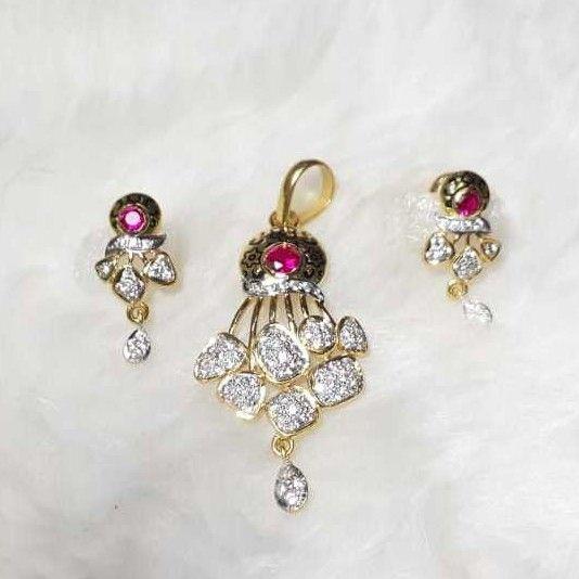 916 exclusive cz oxidised pendant set