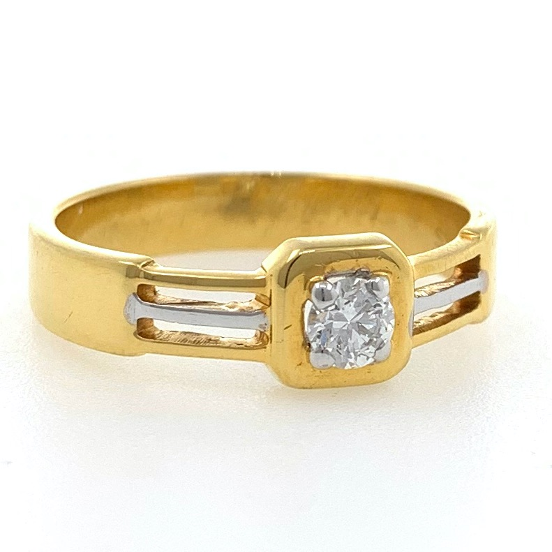 18kt / 750 yellow gold solitaire engagement classic gents ring 9gr42