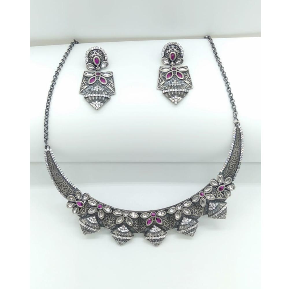 925 Oxidized Silver Pink Stone Necklace Set VJ-N002
