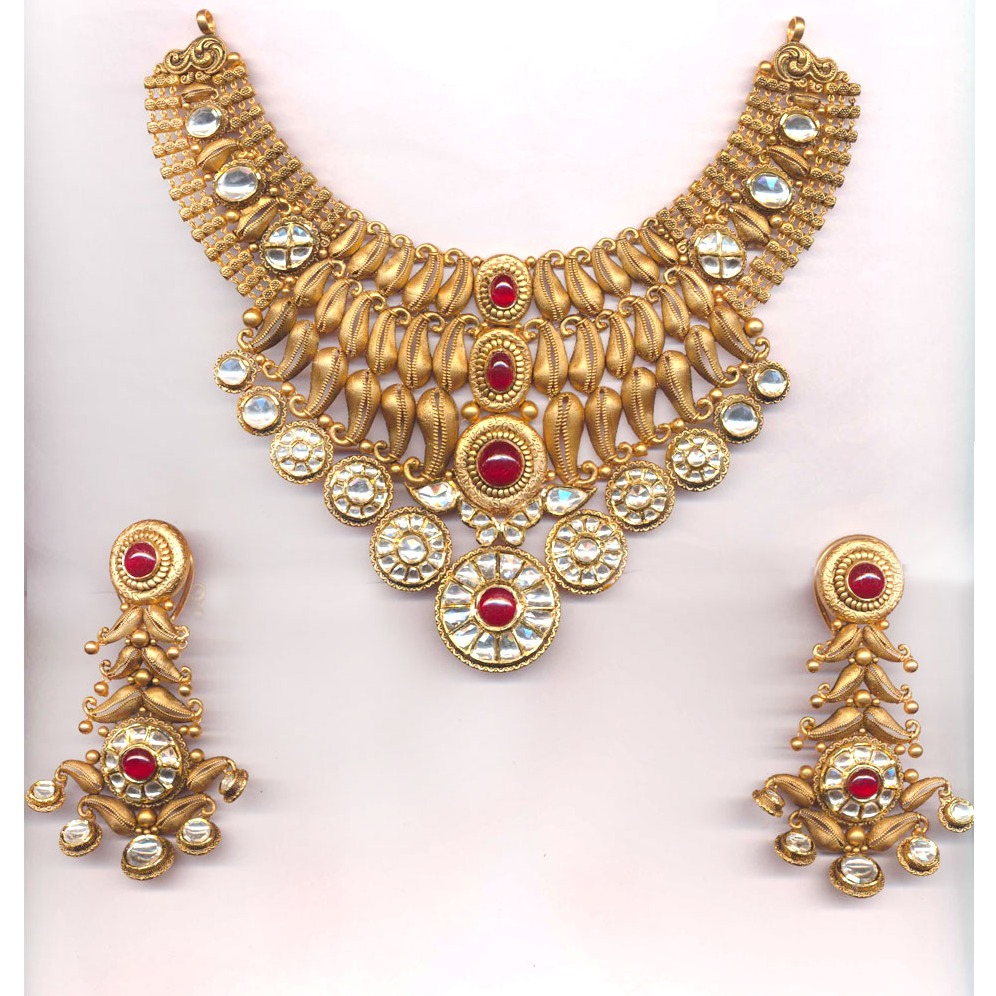 916 Gold Antique Mango Design Necklace Set Form Rajkot