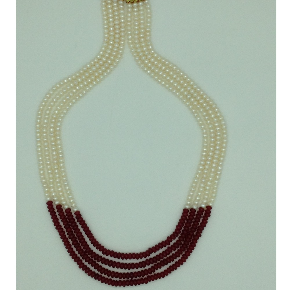 Freshwater WhitePearls with RedSemi Beeds Necklace JPM0394