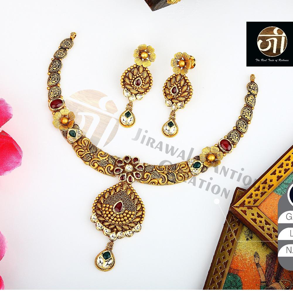 916 Gold Antique Bridal Necklace Set STG-0048