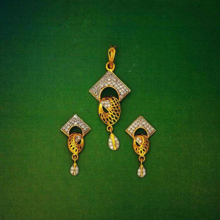 916 gold modern pendant set
